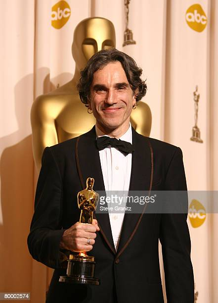 Actor Daniel Day Lewis poses in the press room during the 80th Annual Academy Awards at the Kodak Theatre on February 24 2008 in Los Angeles...