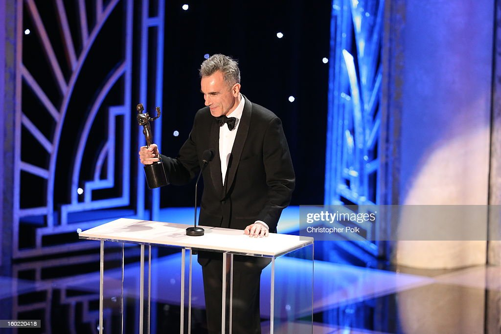 Actor Daniel Day Lewis speaks at the 19th Annual Screen Actors Guild Awards at The Shrine Auditorium on January 27, 2013 in Los Angeles, California. (Photo by Christopher Polk/WireImage) 23116_012_2074.JPG