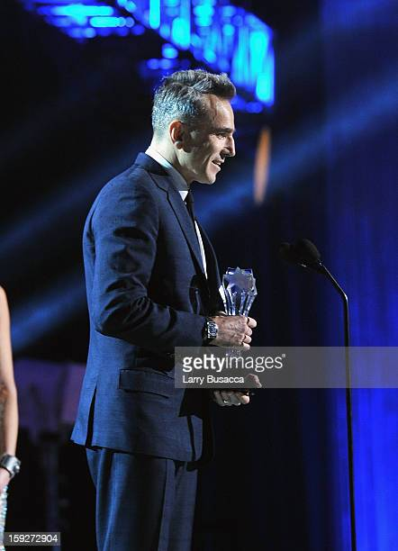 Actor Daniel DayLewis accepts the award for Best Actor onstage at the 18th Annual Critics' Choice Movie Awards held at Barker Hangar on January 10...