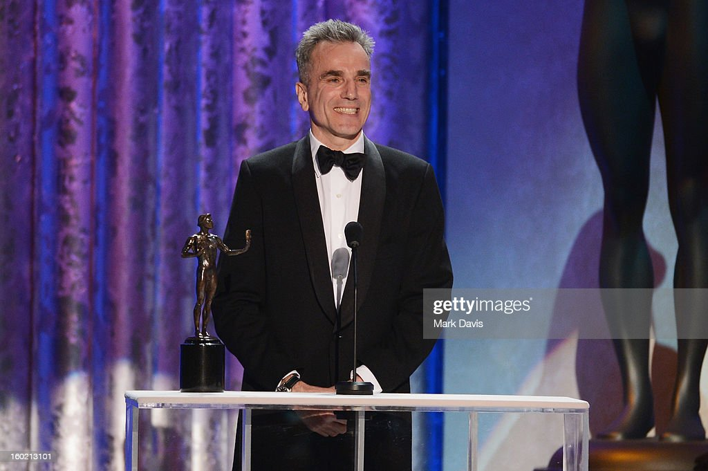 Actor Daniel Day-Lewis accepts the award for Outstanding Performance by a Male Actor in a Leading Role for 'Lincoln' onstage during the 19th Annual Screen Actors Guild Awards held at The Shrine Auditorium on January 27, 2013 in Los Angeles, California.
