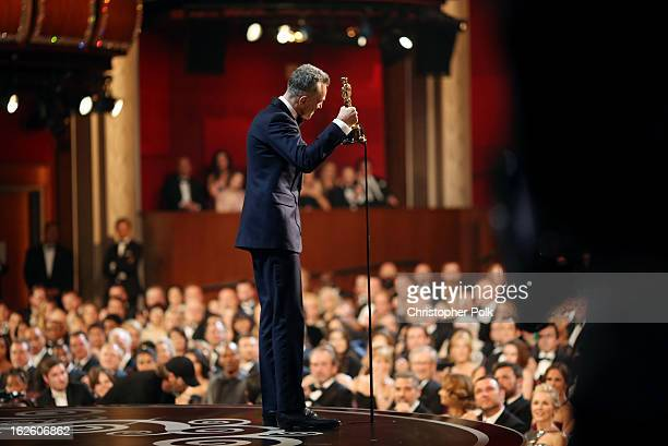 Actor Daniel DayLewis accepts the Best Actor award for 'Lincoln' seen from backstage during the Oscars held at the Dolby Theatre on February 24 2013...