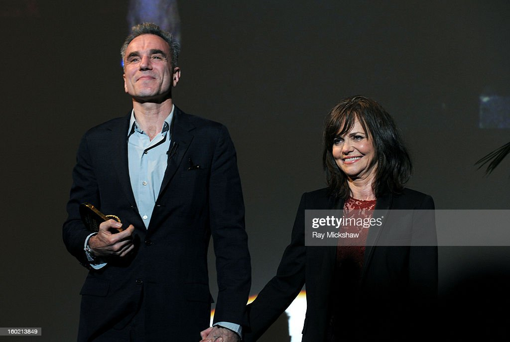 Actor <a gi-track='captionPersonalityLinkClicked' href=/galleries/search?phrase=Daniel+Day-Lewis&family=editorial&specificpeople=211475 ng-click='$event.stopPropagation()'>Daniel Day-Lewis</a> and actress <a gi-track='captionPersonalityLinkClicked' href=/galleries/search?phrase=Sally+Field&family=editorial&specificpeople=206350 ng-click='$event.stopPropagation()'>Sally Field</a> attends the 28th Santa Barbara International Film Festival Montecito Award on January 26, 2013 in Santa Barbara, California.