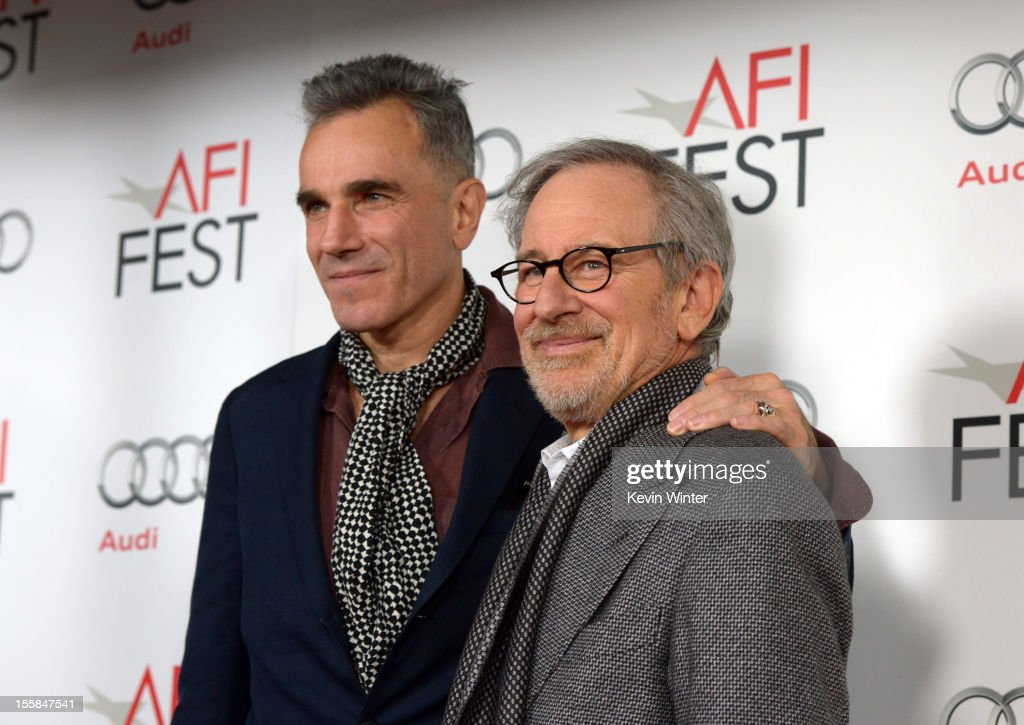Actor Daniel Day-Lewis (L) and director Steven Spielberg arrive at the 'Lincoln' premiere during AFI Fest 2012 presented by Audi at Grauman's Chinese Theatre on November 8, 2012 in Hollywood, California.