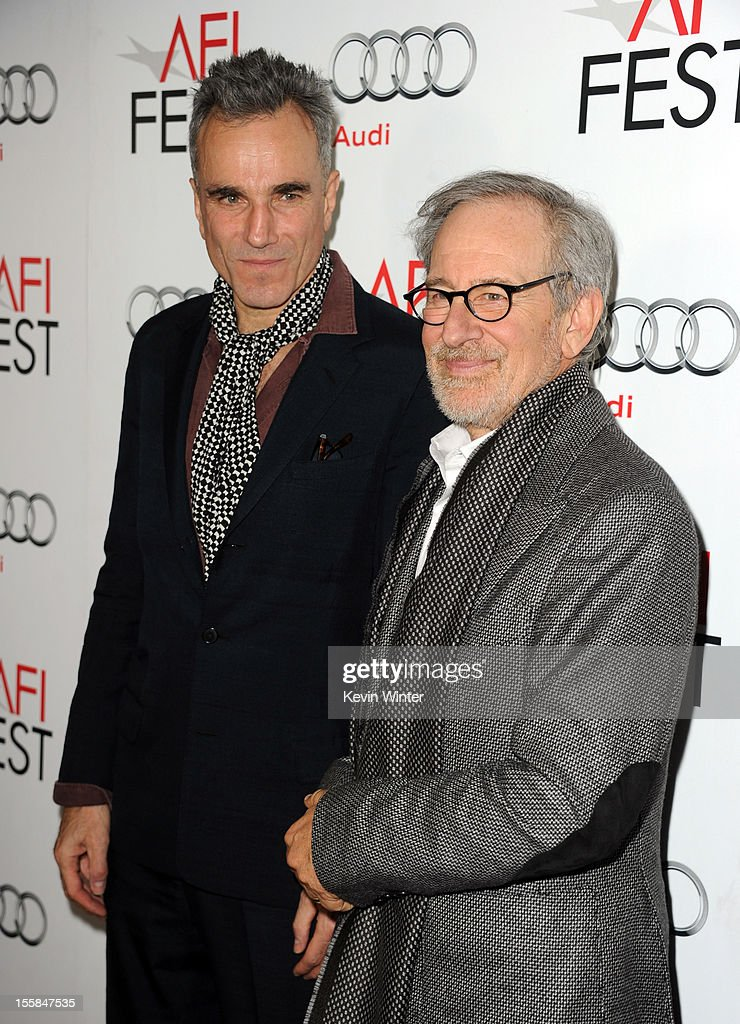 Actor <a gi-track='captionPersonalityLinkClicked' href=/galleries/search?phrase=Daniel+Day-Lewis&family=editorial&specificpeople=211475 ng-click='$event.stopPropagation()'>Daniel Day-Lewis</a> (L) and director/producer <a gi-track='captionPersonalityLinkClicked' href=/galleries/search?phrase=Steven+Spielberg&family=editorial&specificpeople=202022 ng-click='$event.stopPropagation()'>Steven Spielberg</a> arrive at the 'Lincoln' premiere during AFI Fest 2012 presented by Audi at Grauman's Chinese Theatre on November 8, 2012 in Hollywood, California.