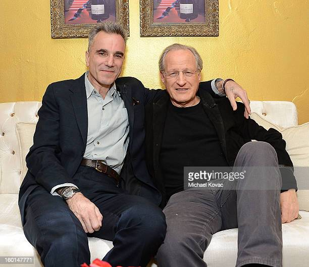 Actor Daniel DayLewis and writer/director Michael Mann visit The Moet Chandon Lounge at The Santa Barbara International Film Festival on January 26...