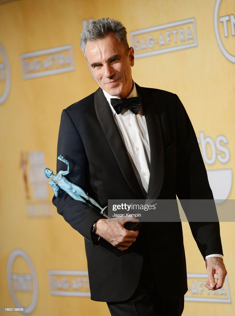 Actor <a gi-track='captionPersonalityLinkClicked' href=/galleries/search?phrase=Daniel+Day-Lewis&family=editorial&specificpeople=211475 ng-click='$event.stopPropagation()'>Daniel Day-Lewis</a> attends the19th Annual Screen Actors Guild Awards Press Room at The Shrine Auditorium on January 27, 2013 in Los Angeles, California.