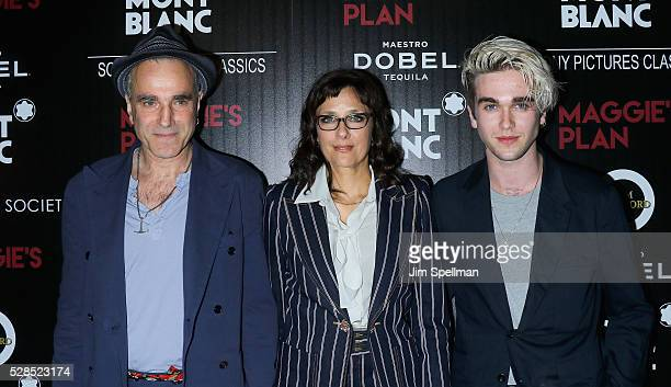 Actor Daniel DayLewis director Rebecca Miller and GabrielKane DayLewis attend the screening of Sony Pictures Classics' 'Maggie's Plan' hosted by...
