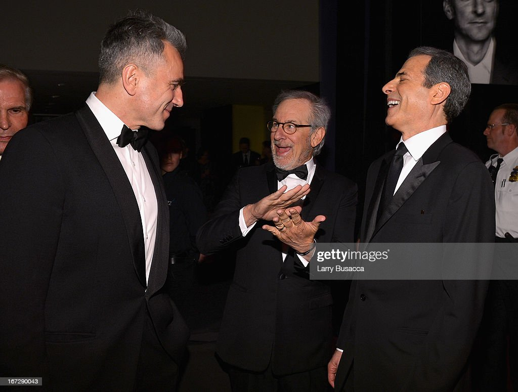 Actor Daniel Day-Lewis, filmmaker Steven Spielberg, and TIME Managing Editor Richard Stengel attend the TIME 100 Gala, TIME'S 100 Most Influential People In The World reception at Jazz at Lincoln Center on April 23, 2013 in New York City.