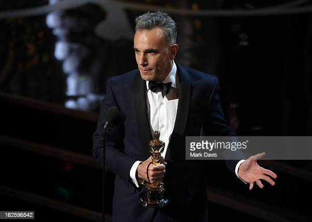 Actor Daniel DayLewis onstage during the Oscars held at the Dolby Theatre on February 24 2013 in Hollywood California