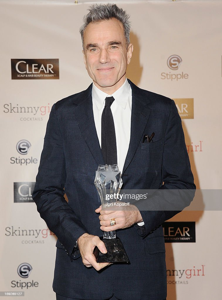 Actor Daniel Day-Lewis poses in the press room at the 18th Annual Critics' Choice Movie Awards at Barker Hangar on January 10, 2013 in Santa Monica, California.