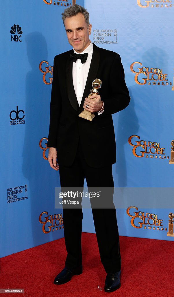 Actor <a gi-track='captionPersonalityLinkClicked' href=/galleries/search?phrase=Daniel+Day-Lewis&family=editorial&specificpeople=211475 ng-click='$event.stopPropagation()'>Daniel Day-Lewis</a> poses in the press room at the 70th Annual Golden Globe Awards held at The Beverly Hilton Hotel on January 13, 2013 in Beverly Hills, California.