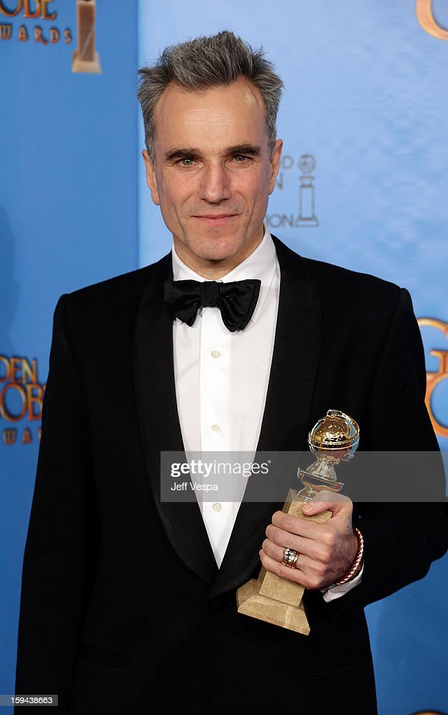 Actor Daniel Day-Lewis poses in the press room at the 70th Annual Golden Globe Awards held at The Beverly Hilton Hotel on January 13, 2013 in Beverly Hills, California.