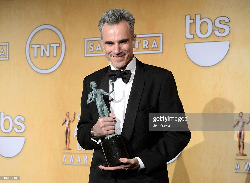 Actor <a gi-track='captionPersonalityLinkClicked' href=/galleries/search?phrase=Daniel+Day-Lewis&family=editorial&specificpeople=211475 ng-click='$event.stopPropagation()'>Daniel Day-Lewis</a> poses in the press room during the 19th Annual Screen Actors Guild Awards held at The Shrine Auditorium on January 27, 2013 in Los Angeles, California.