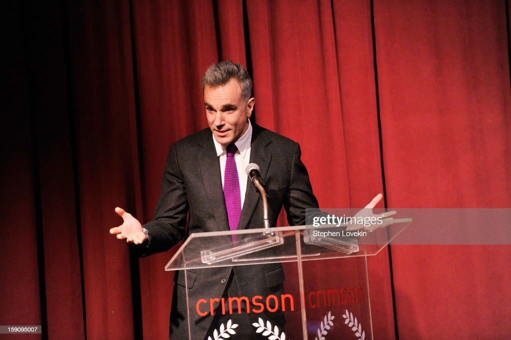 Actor <a gi-track='captionPersonalityLinkClicked' href=/galleries/search?phrase=Daniel+Day-Lewis&family=editorial&specificpeople=211475 ng-click='$event.stopPropagation()'>Daniel Day-Lewis</a> speaks onstage at the 2012 New York Film Critics Circle Awards at Crimson on January 7, 2013 in New York City.