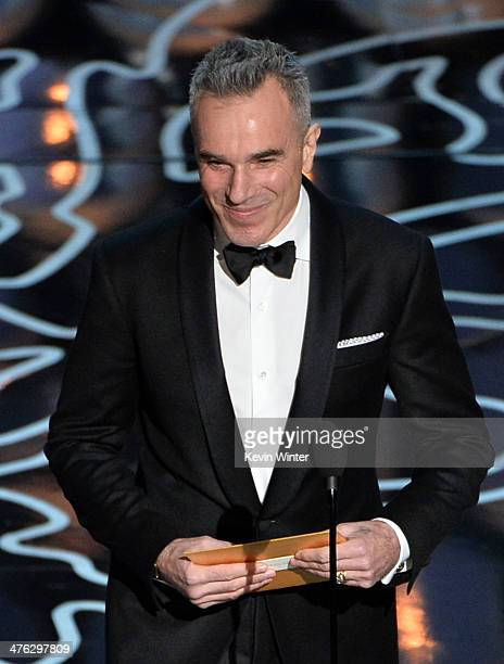 Actor Daniel DayLewis speaks onstage during the Oscars at the Dolby Theatre on March 2 2014 in Hollywood California