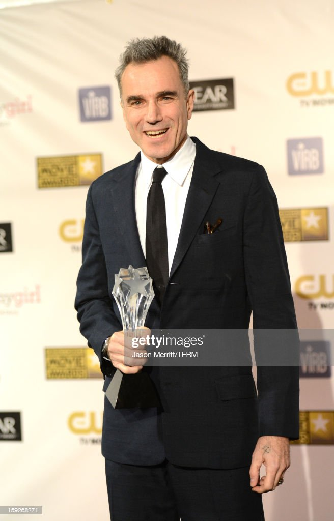 Actor Daniel Day-Lewis, winner of Best Actor for 'Lincoln,' poses in the press room at the 18th Annual Critics' Choice Movie Awards held at Barker Hangar on January 10, 2013 in Santa Monica, California.
