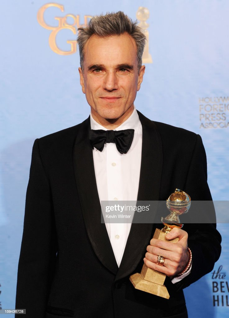 Actor Daniel Day-Lewis, winner of Best Actor in a Motion Picture (Drama) for 'Lincoln,' poses in the press room during the 70th Annual Golden Globe Awards held at The Beverly Hilton Hotel on January 13, 2013 in Beverly Hills, California.