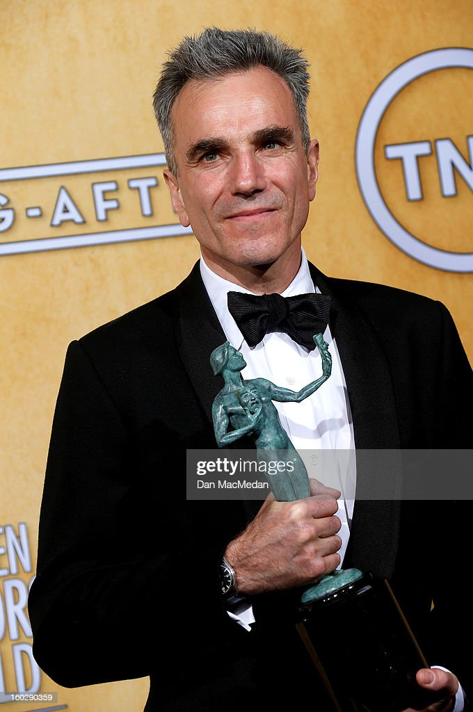 Actor Daniel Day-Lewis, winner of Outstanding Performance by a Male Actor in a Leading Role for 'Lincoln,' poses in the press room at the 19th Annual Screen Actors Guild Awards at the Shrine Auditorium on January 27, 2013 in Los Angeles, California.