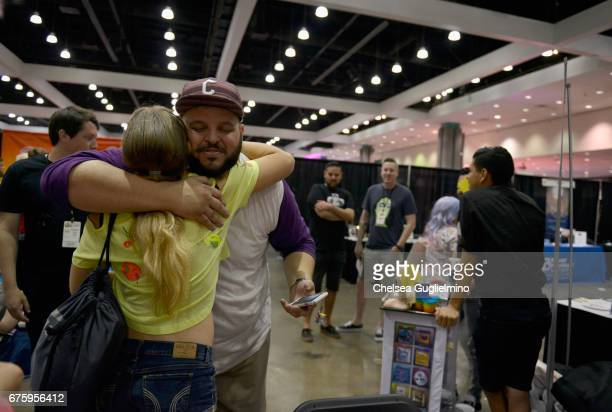 Actor Daniel Franzese greets a fan during the 3rd Annual RuPaul's DragCon day 2 at Los Angeles Convention Center on April 30 2017 in Los Angeles...