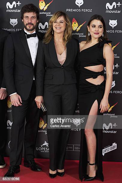 Actor Daniel Grao actress Emma Suarez and actress Adriana Ugarte attend the Feroz cinema awards 2016 at the Duques de Pastrana Palace on January 23...