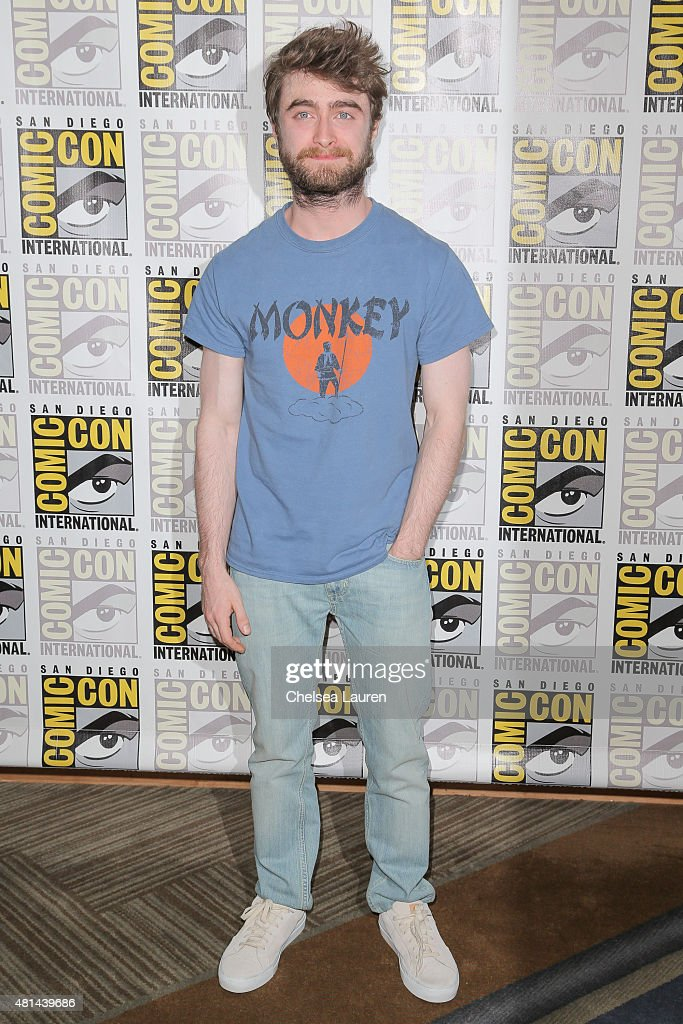 Actor Daniel Radcliffe arrives at the 'Victor Frankenstein' press room during Comic-Con International on July 11, 2015 in San Diego, California.