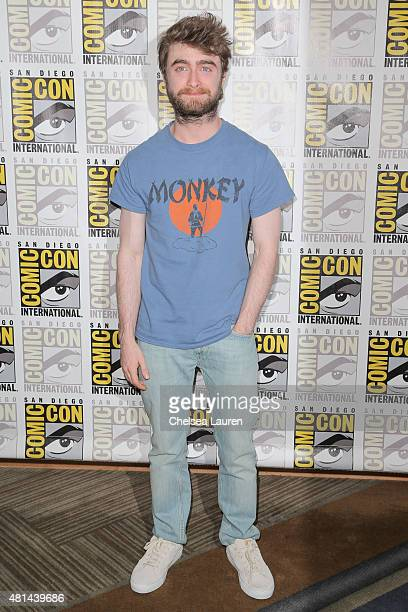 Actor Daniel Radcliffe arrives at the 'Victor Frankenstein' press room during ComicCon International on July 11 2015 in San Diego California