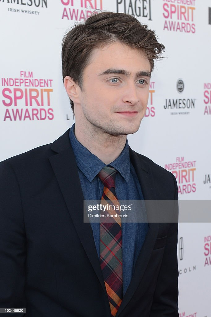 Actor Daniel Radcliffe arrives with Jameson prior to the 2013 Film Independent Spirit Awards at Santa Monica Beach on February 23, 2013 in Santa Monica, California.