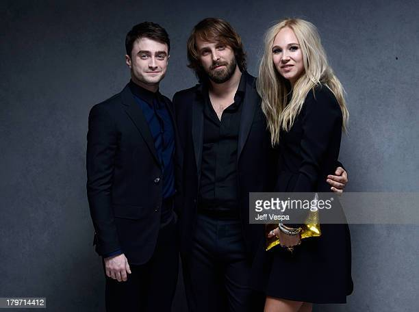 Actor Daniel Radcliffe director Alexandre Aja and actress Juno Temple of 'Horns' pose at the Guess Portrait Studio during 2013 Toronto International...