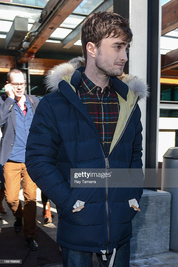 Actor Daniel Radcliffe leaves the Nikki Beach Lounge at the Sky Lodge on January 19, 2013 in Park City, Utah.