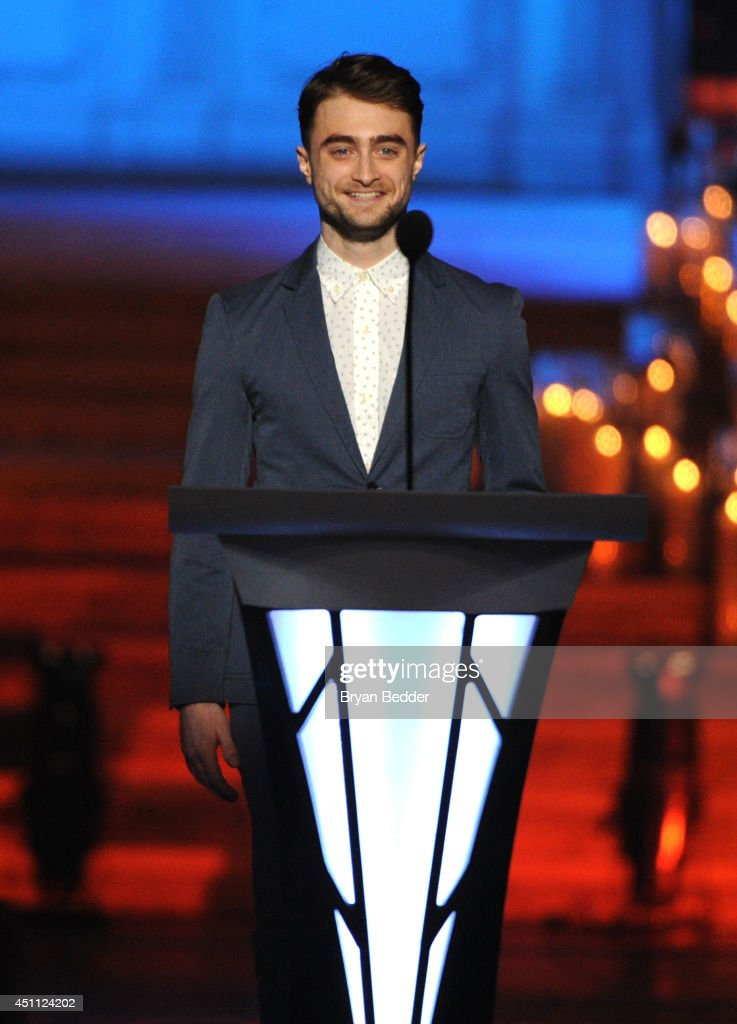 Actor <a gi-track='captionPersonalityLinkClicked' href=/galleries/search?phrase=Daniel+Radcliffe&family=editorial&specificpeople=204144 ng-click='$event.stopPropagation()'>Daniel Radcliffe</a> speaks onstage during Logo TV's 'Trailblazers' at the Cathedral of St. John the Divine on June 23, 2014 in New York City.