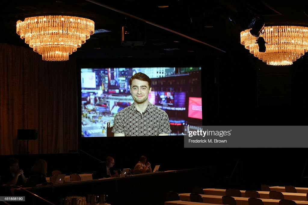 Actor Daniel Radcliffe speaks via satellite at the 'A Young Doctor's Notebook and Other Stories' panel during the Ovation portion of the 2014 Summer Television Critics Association at The Beverly Hilton Hotel on July 8, 2014 in Beverly Hills, California.