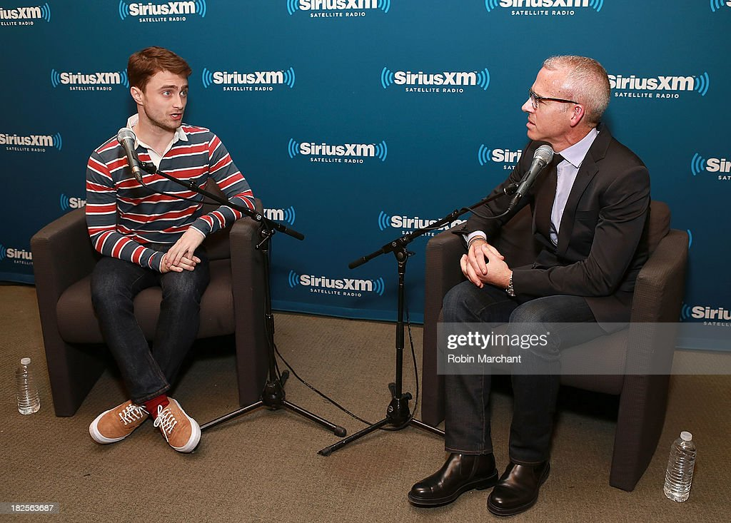 Actor Daniel Radcliffe (L) with Jess Cagle, host of Entertainment Weekly Radio and Editor of Entertainment Weekly during SiriusXM's 'Town Hall' series at SiriusXM Studios on September 30, 2013 in New York City.