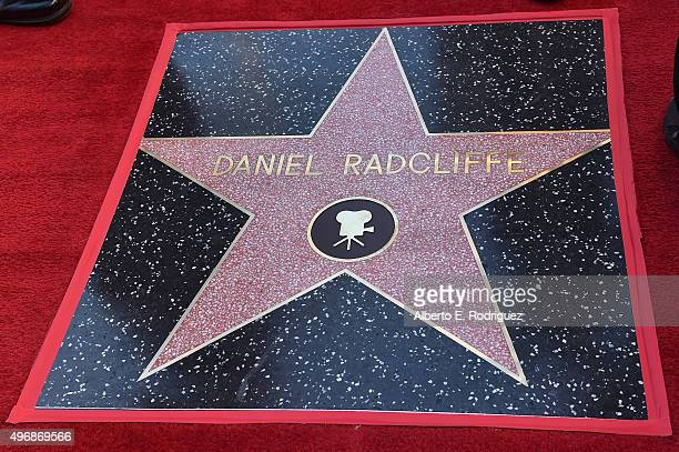 Actor Daniel Radcliffe's star is seen as he is honored on the Hollywood Walk of Fame on November 12 2015 in Hollywood California