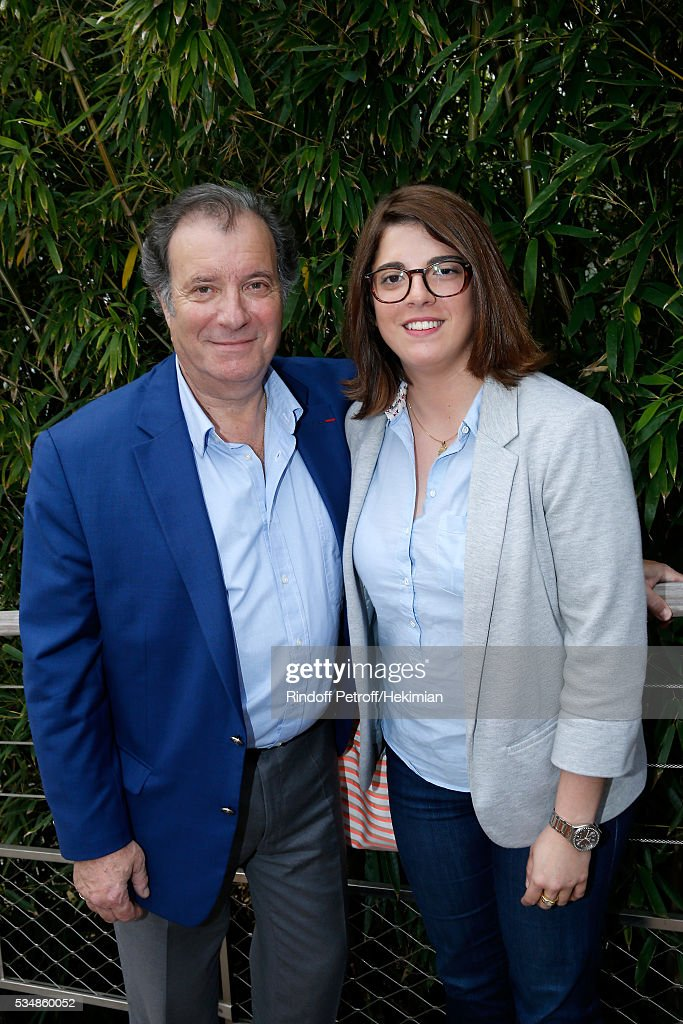 Actor Daniel Russo and his daughter Charlotte attend Day Seven of the 2016 French Tennis Open at Roland Garros on May 28, 2016 in Paris, France.