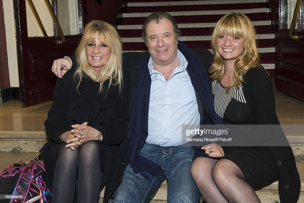 Actor Daniel Russo (C) poses with his wife Lucie (L) and his daughter Amanda following the 100th performance of the play 'Hier Est Un Autre Jour' at Theatre des Bouffes Parisiens on May 11, 2013 in Paris, France.