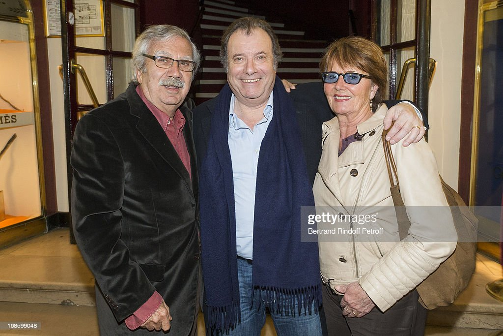 Actor Daniel Russo (C) poses with legendary make-up artist Charly Koubesserian (L) and Koubesserian's wife Marie-France following the 100th performance of the play 'Hier Est Un Autre Jour' at Theatre des Bouffes Parisiens on May 11, 2013 in Paris, France.