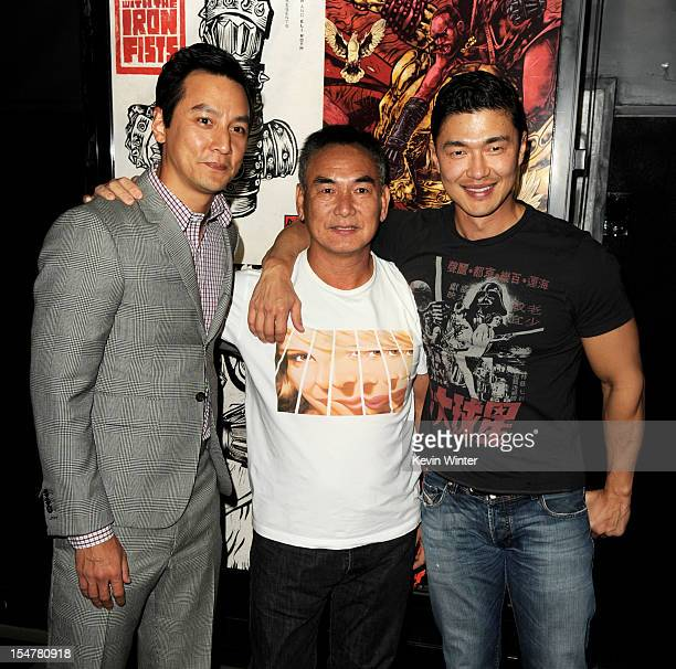 Actor Daniel Wu action coordinator Cory Yuen and actor Rick Yune arrive at a special screening of Universal Pictures' 'The Man With The Iron Fists'...