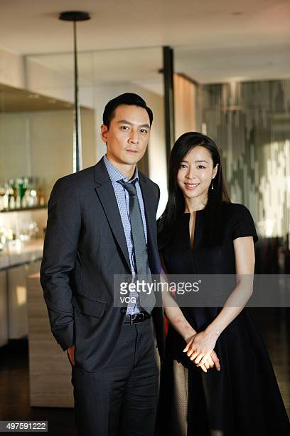 Actor Daniel Wu and actress Zhang Jingchu pose during the media visit of director Ringo Lam's film 'Battle of Life' on November 17 2015 in Hong Kong...