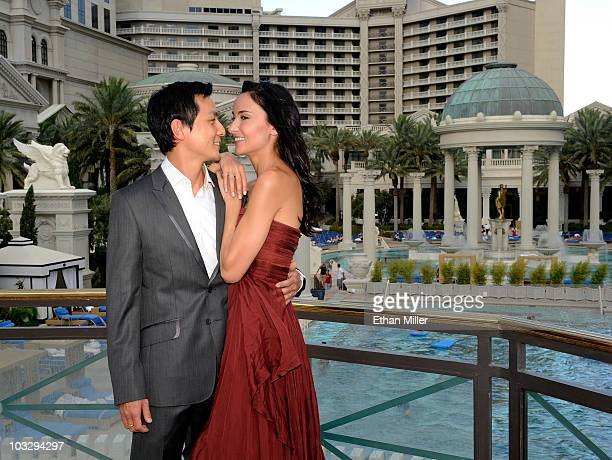 Actor Daniel Wu and his wife television personality and model Lisa Selesner appear at Caesars Palace as they celebrate their recent marriage August 7...