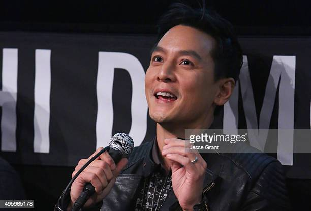Actor Daniel Wu speaks onstage during a panel discussion at AMC and CAPE Celebrate 'Into The Badlands' at the Japanese American National Museum on...