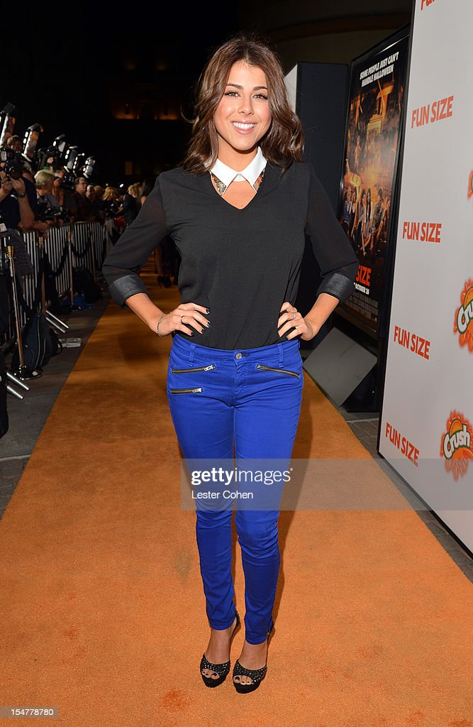 Actor Daniella Monet arrives at the Los Angeles premiere of 'Fun Size' at Paramount Studios on October 25, 2012 in Hollywood, California.
