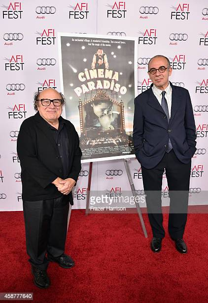 Actor Danny DeVito and director Giuseppe Tornatore attend the legacy screening of 'Cinema Paradiso' during the AFI FEST 2014 presented by Audi at...
