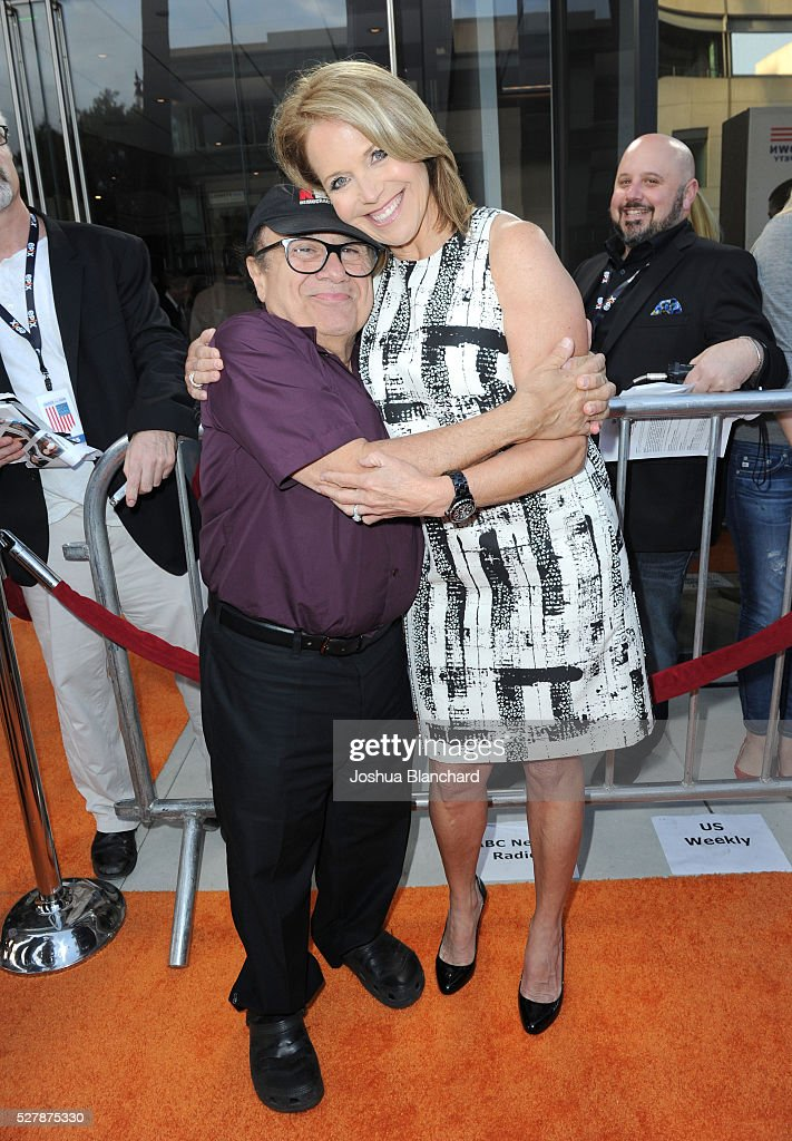 Actor Danny Devito and journalist/executive producer Katie Couric attend the 'Under The Gun' LA premiere featuring Katie Couric and Stephanie...