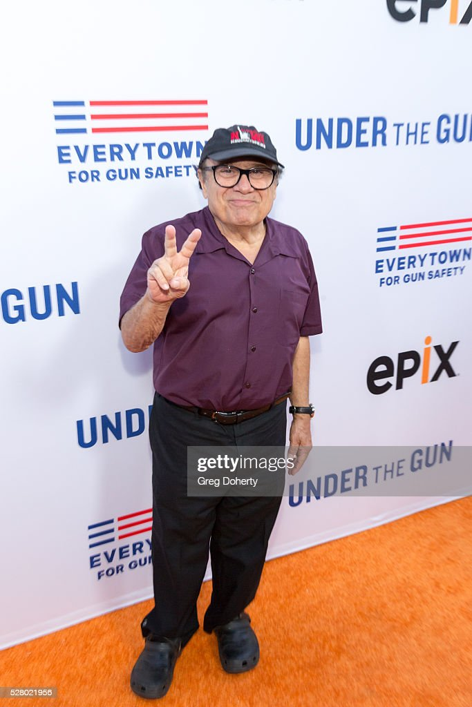 Actor Danny Devito arrives at the Premiere Of EPIX's 'Under The Gun' at the Samuel Goldwyn Theater on May 3 2016 in Beverly Hills California