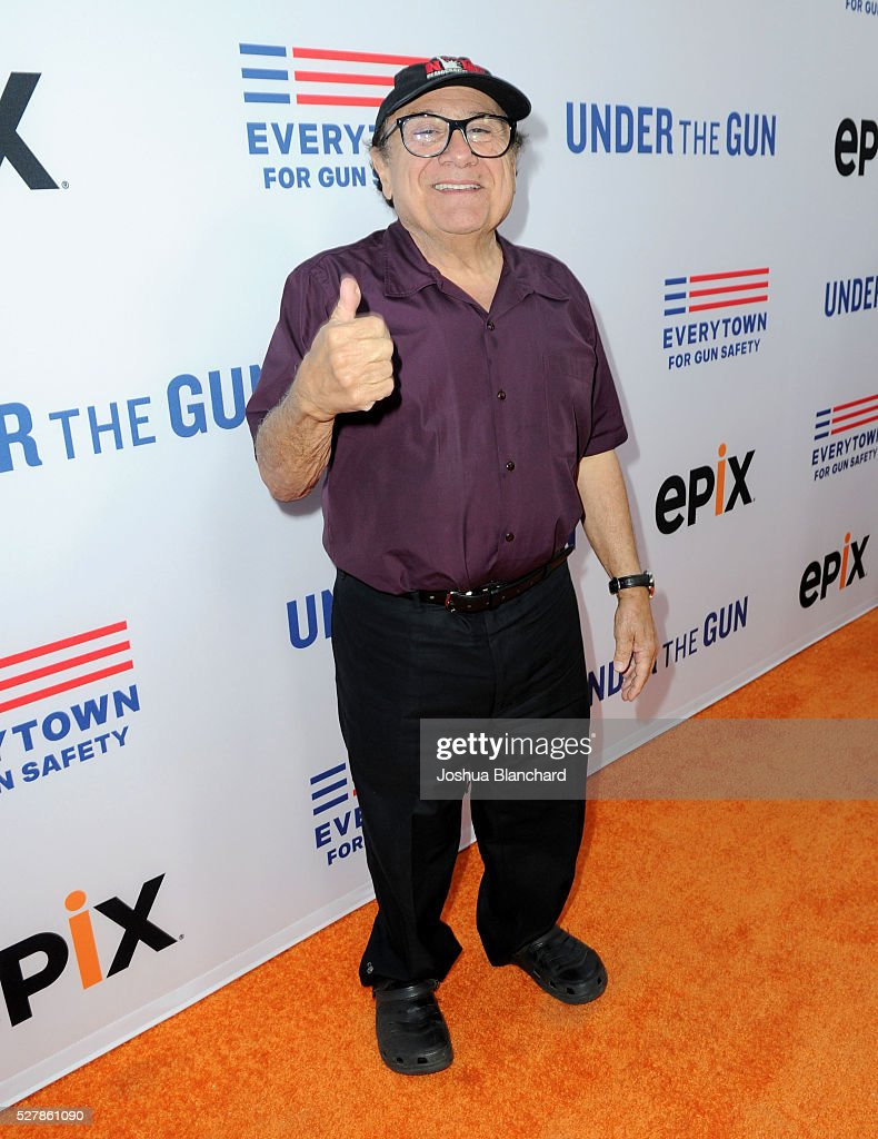 Actor Danny Devito attends the 'Under The Gun' LA premiere featuring Katie Couric and Stephanie Soechtig at Samuel Goldwyn Theater on May 3 2016 in...