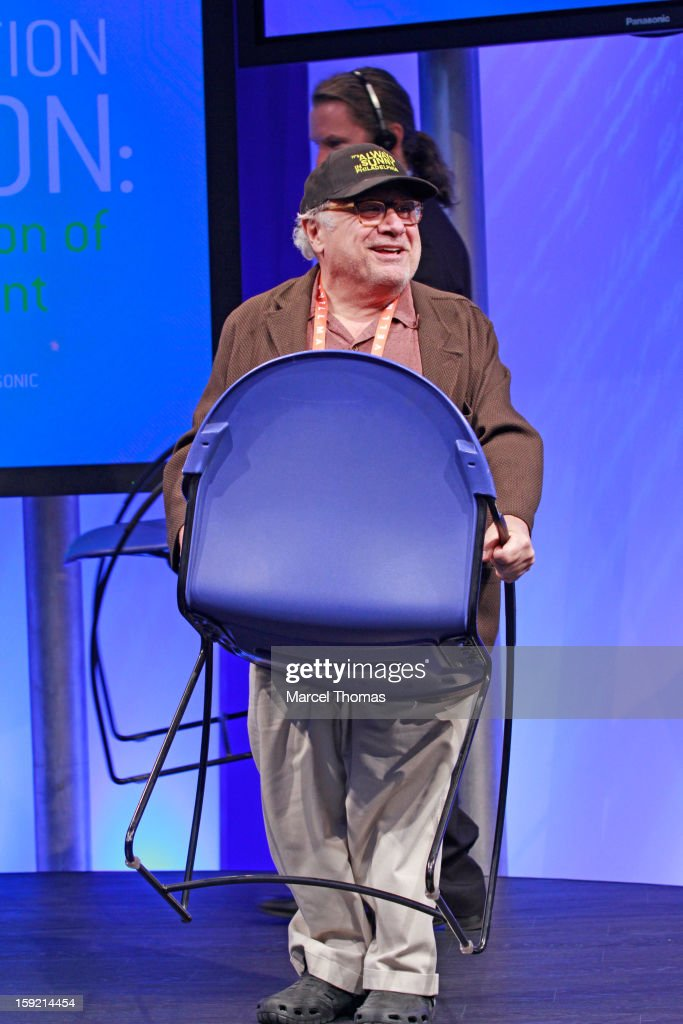Actor Danny DeVito speaks at the Panasonic booth during the 2013 International CES held at the Las Vegas Convention Center on January 9, 2013 in Las Vegas, Nevada.