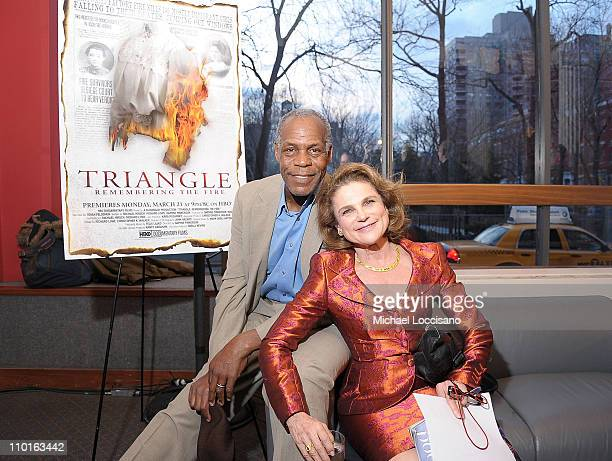 Actor Danny Glover and flm narrator Tovah Feldshuh attend the HBO Documentary Screening Of 'Triangle Remembering The Fire' at The Silver Center For...