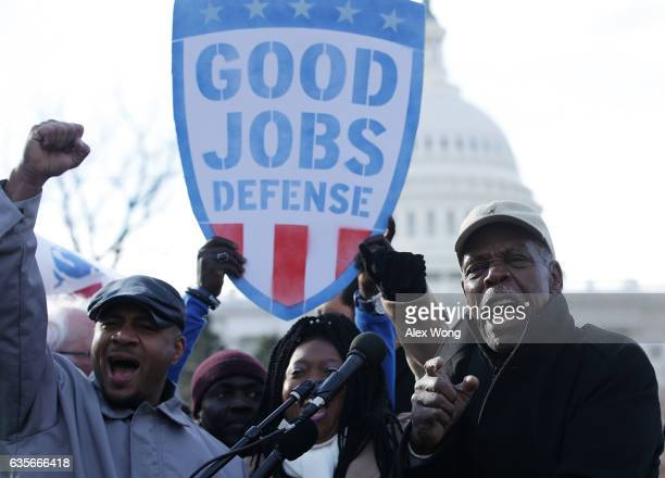 Actor Danny Glover speaks during a rally 'to fightback against the Republican war on the working class' February 16 2017 at Upper Senate Park on...