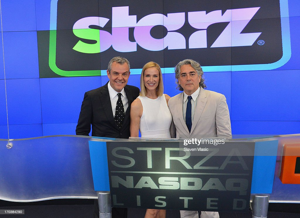 Actor Danny Huston, actress Kelly Lynch and creator/writer Mitch Glazer visit NASDAQ MarketSite on June 12, 2013 in New York City.