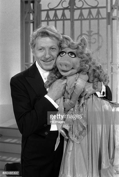 Actor Danny Kaye teams up with Miss Piggy of The Muppet Show to sing 'Cheek to Cheek' from the 1930's movie Top Hat at ATV Studios in Boreham Wood...